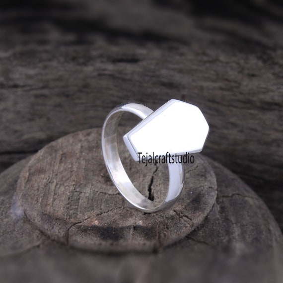 Coffin Single Cut Diamond Polki 925 Sterling Silver Gold /& Black Rhodium Plated Ring  Geometric Handmade Midi Jewelry Unisex Ring Jewelry