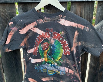 fbebfac09 Rolling Stones, Painted Distressed Bleach Rock and Roll Cropped T-Shirt