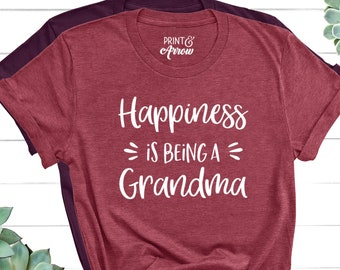 Happiness Is Being a Grandma Shirt, Grandparent Gifts, Grandma Gift, Christmas Gift for Grandma, Pregnancy Announcement Grandparents