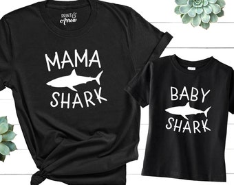 9d33a9ac Mommy and Me Shirts, Mama Shark Shirt, Baby Shark Shirt, Mommy and Me  Outfits, Matching Shirts, Matching Family Shirts, Funny Family Shirts