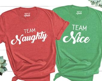 d401e2c7 Team Naughty Shirt, Team Nice Shirt, Santa Shirt, Couple Christmas Shirts,  Funny Christmas Shirts, Matching Christmas Shirts, Naughty List