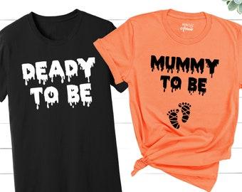 Halloween Pregnancy Announcement Shirt, Mummy To Be, Deady To Be, Halloween Maternity Shirt, Pregnancy Reveal T-Shirt, Halloween Preggers