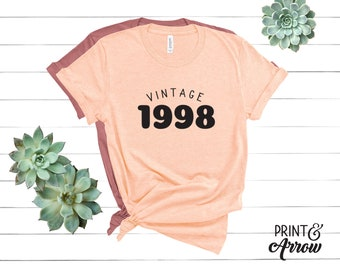 21st Birthday Shirt Vintage 1998 Tee Funny Made In The 90s Gift 21 AF