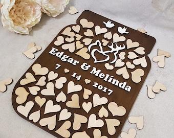 Alternative Wedding Guest Book 3D Mason Jar Wedding Wood Guest Book  Buck and Doe Rustic Wedding Guestbook  Wood guest book