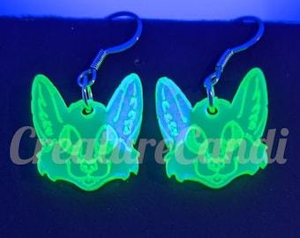 UV Green Fox Earrings | Acrylic Fox Earrings | Black Light Jewelry | Cyber Furry Jewelry