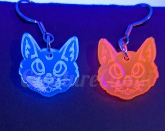 UV Red or Blue Cat Acrylic Earrings | Feline Earrings | Cyberpunk Animals | Black light Jewelry