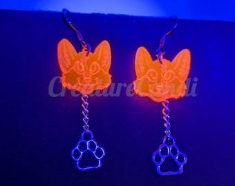 Red Fox Dangle Earrings | UV Reactive Cyber Fox Earrings | Furry Earrings