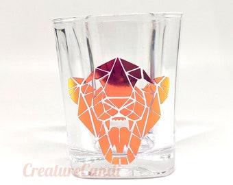 Low Poly Panther Shot Glass | 2 oz Roaring Panther Glass | Panther Barware