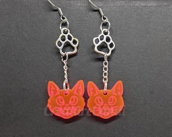 UV Furry Cat Dangle Earrings | Cyberpunk Furry Earrings | Acrylic Black Light Cat Earrings