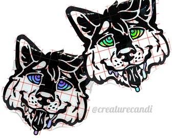 Hypno Wolf | Furry Decal | Wolf Decal | Werewolf Decal | Holo Wolf Decal | Furry Sticker | Furry Hypnosis | Brainwashed Decal| Mind Control