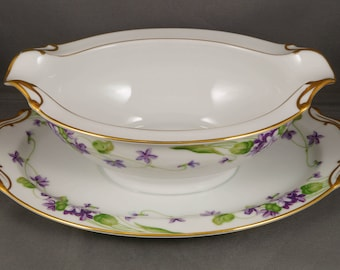 Noritake China Nancy pattern Violets Gravy Boat  Underplate & gold trim 5163