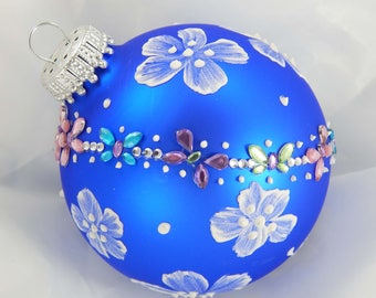 Painted Ornament. Hand-Painted Ornament. Mud Ornament. Blue Ornament. Glass Ornament. Christmas Ornament. Holiday Ornament.