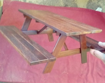 1/6 Scale Furniture Miniature Wood Picnic Table Bench