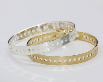Gold or silver - plated polka dot bracelet Bangle
