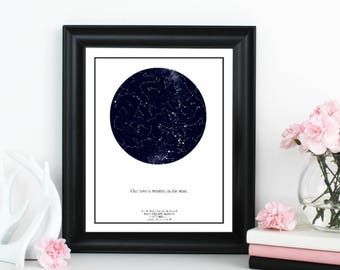 Custom Star Map; Personalized Star Map; Star and Constellation print; Father's Day Gift; Personalized Wedding Gift; Anniversary Gift