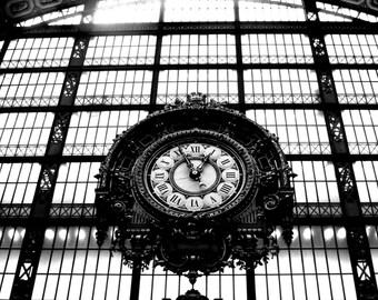 Orsay Museum Clock digital art print; Paris wall art; black and white art; travel photography; French art; gallery wall art; shelf decor