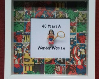 40th 30th 21st 50th Birthday Present Wonder Woman Minifigure Framed Gift Can Be Made To Say 18th Order Allow 5 Days