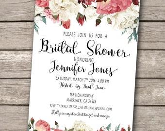 Floral Boho Bridal Shower Invitation, Printable Bridal Shower Invitation, Bohemia Bridal Shower Invitation - US_BI0401