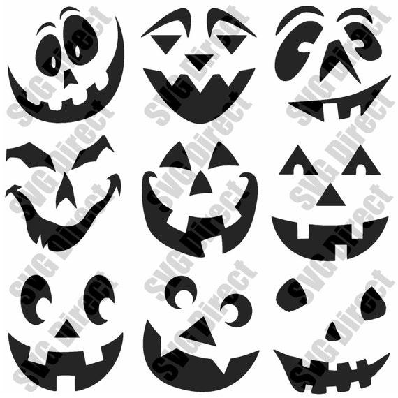 9 diseños de etiqueta de cara sonriente calabaza de Halloween   Etsy