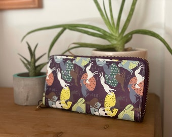Purple PU Leather Purse Sighthound Print Greyhound Whippet Accessories Gift