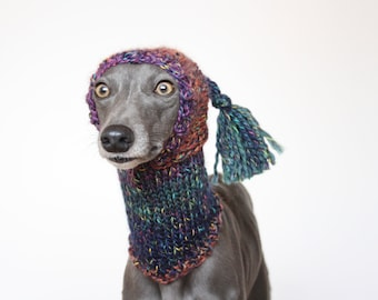 DIFFERENT COLOURS Hand Knitted Tassel Hat and Snood Ear Warmer Whippet, Greyhound, Italian Greyhound, Lurcher Sighthound Galgo Saluki
