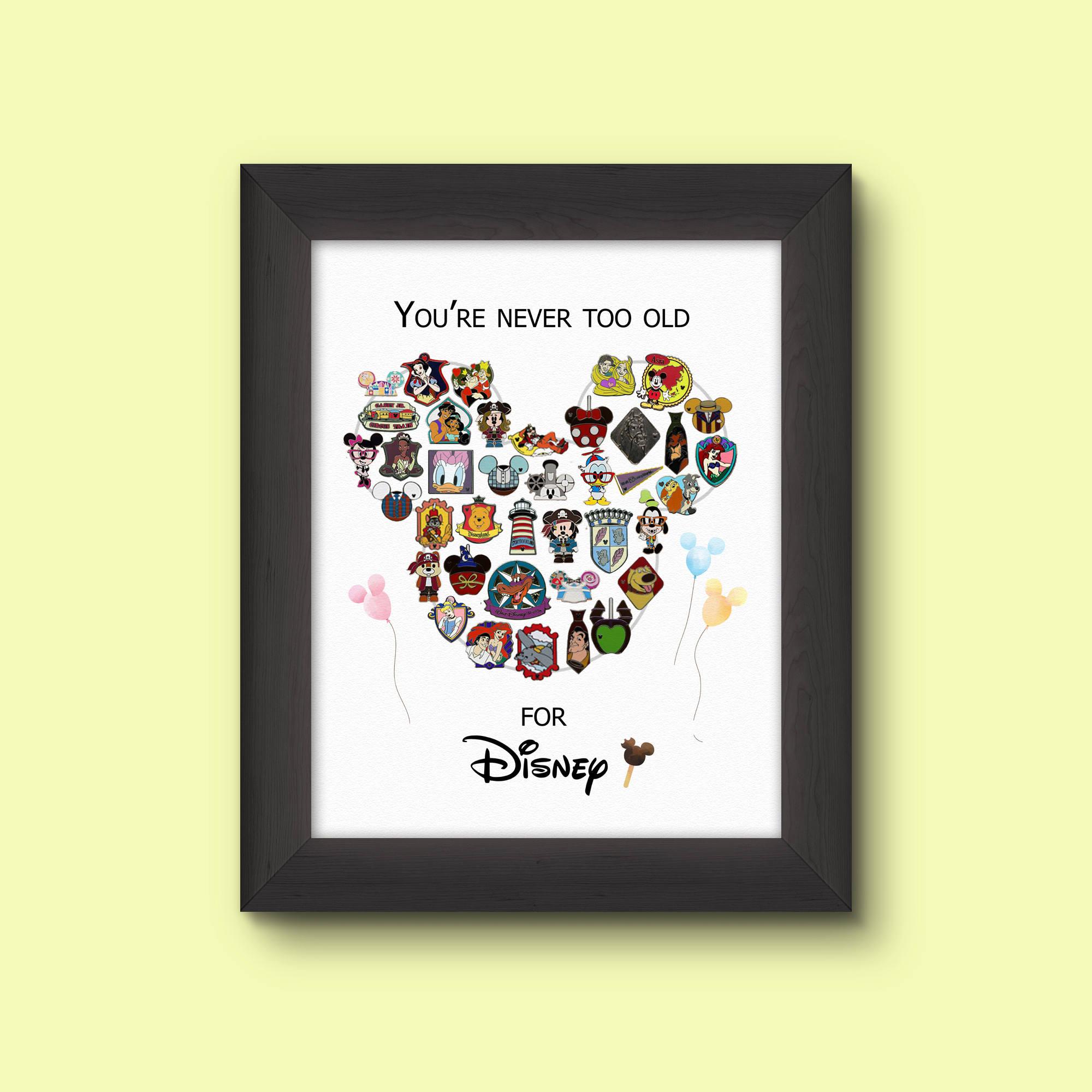 Druckbare Disney Pin Display Nie Zu Alt Etsy
