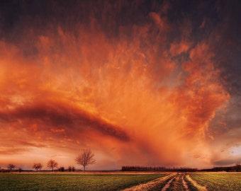 Cloud photography framed photo prints - bedroom wall art - landscape - sky - sunset - field - road - fine art - home decor - SKU0135