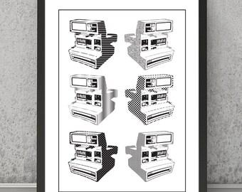 Polaroid print, Polaroid poster, Polaroid wall decor, monochrome poster, monochrome art, black and white print, black and white poster