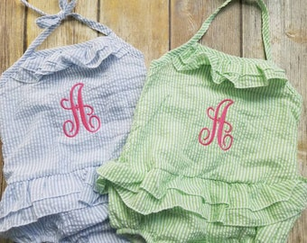 CLEARANCE Girls Seersucker 1 Piece Swimsuit, Monogrammed Bathing Suit, Personalized Swimsuit, Embroidered Bathing Suit, Toddler Kid Swimwear