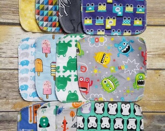 Double-Sided Flannel Cloth Wipes / 6.5 inch Square Wipes / Wash Cloths / Reusable Tissues / Eco-friendly Baby Wipes