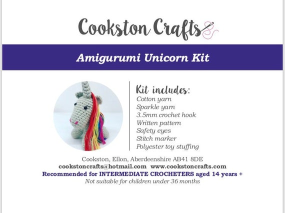 Crochet Kit - Alba the Unicorn, designed and produced in Scotland, amigurumi, cotton yarn, all you need