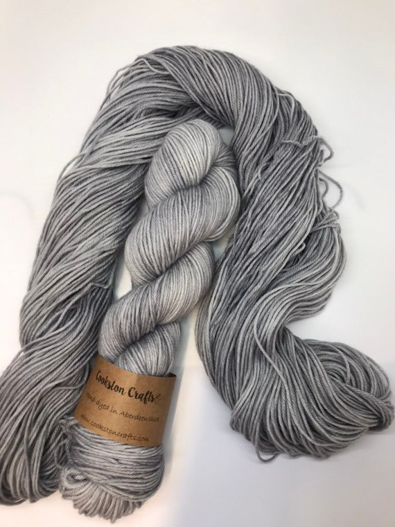 Silver - 100g 75/25% Superwash Merino/ Nylon , DK double knit yarn, hand dyed in Scotland turquoise, grey