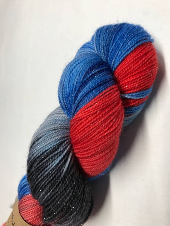 100g Superwash Merino / Nylon / Silver Stellina Sparkle Sock Yarn 4 ply, fingering, hand dyed, red, blue, navy, 'Santa Claus the Movie 2'