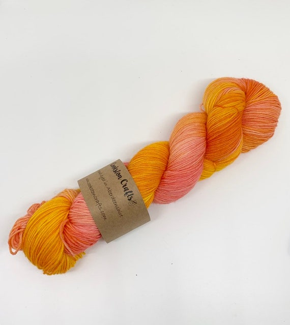 Satsuma - 100g Superwash Merino / Nylon Sock Yarn 4 ply, fingering, hand dyed in Scotland, orange yellow tonal bright