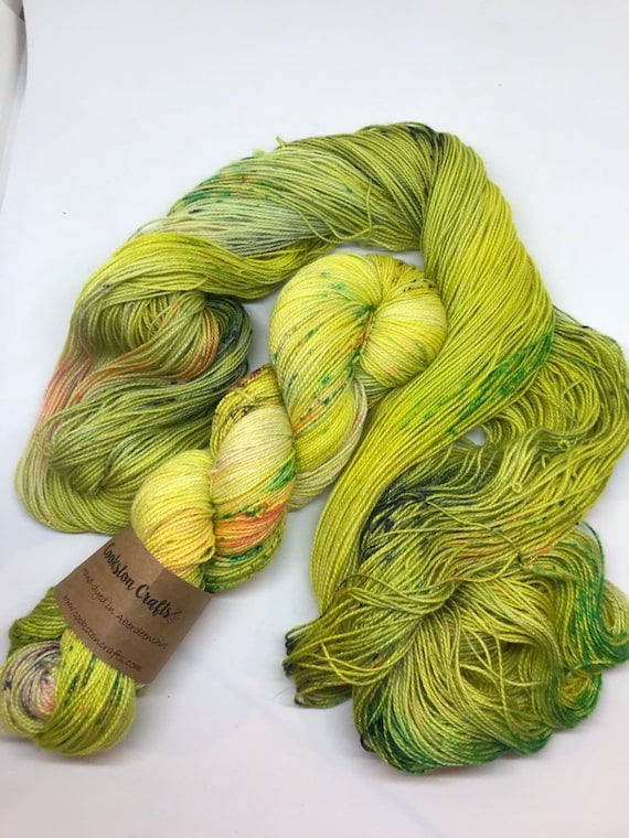 Siren- 100g Superwash Merino / Nylon / Silver Stellina Sparkle Sock Yarn 4 ply, fingering, hand dyed, lime green, yellow, pink navy speckles