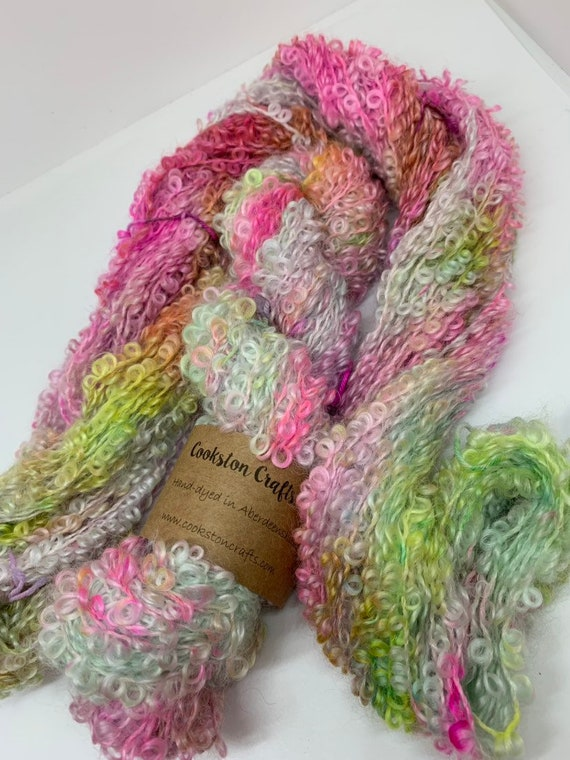 Acquiesce - 100g Kid Mohair / Wool / Nylon loopy boucle chunky weight yarn, hand dyed in Scotland, pink, blue, green