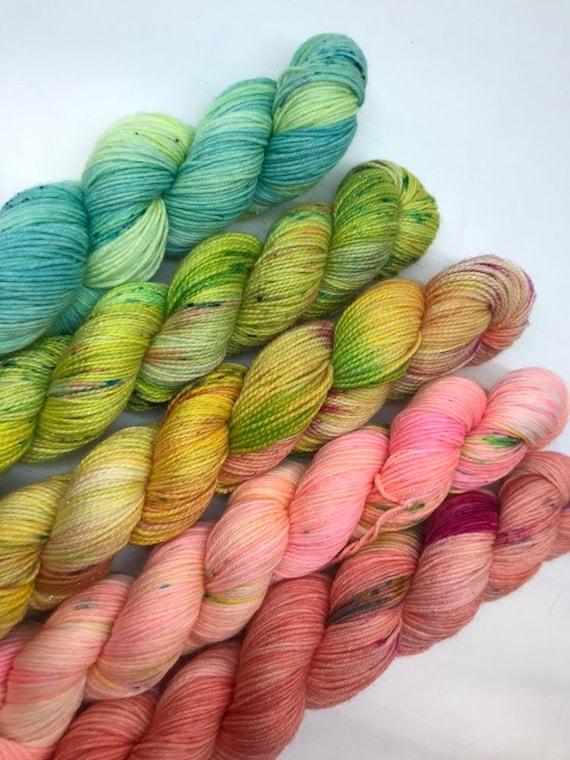 Bright fade set - 250g Superwash Merino / Nylon Sock Yarn 4 ply, fingering, hand dyed green, yellow, peach 5 x 50g