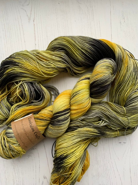 PRE ORDER Hufflepuff - 100g Superwash Merino / Nylon Yarn 4 ply, fingering, sock, hand dyed in Scotland, Harry Potter, mustard, gre