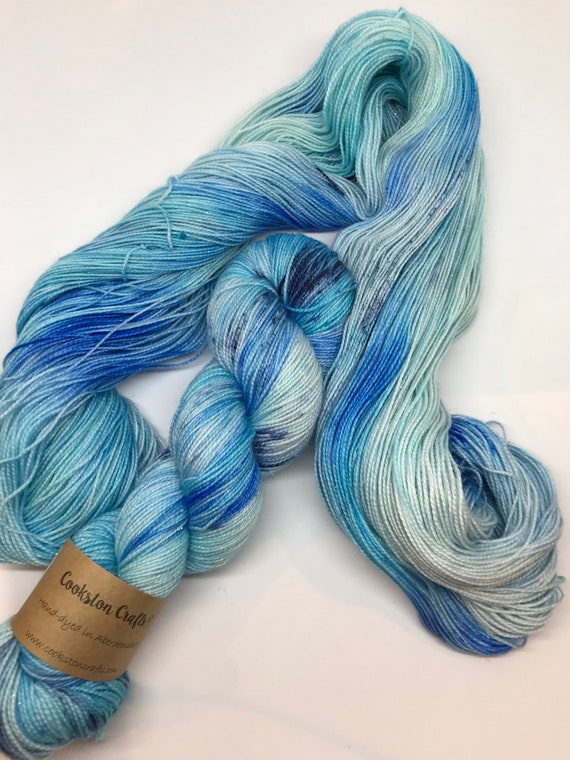 SALE! Delft - 100g Superwash Merino / Nylon / Silver Stellina Sparkle Sock Yarn 4 ply, fingering, hand dyed Pale Blue, Navy Speckles