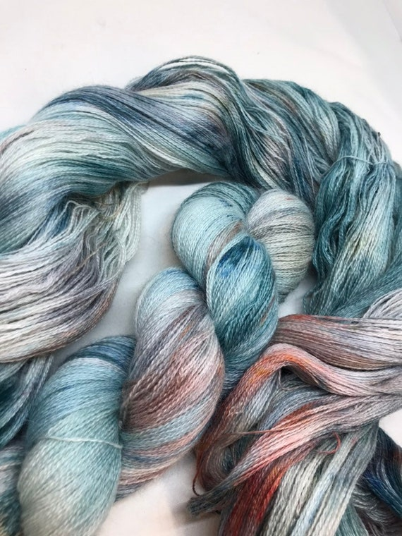 Outlander 100g Baby Suri Alpaca / Extra Fine Merino / silk lace weight yarn, 50/30/20 %1200 metres, hand dyed, teal, grey