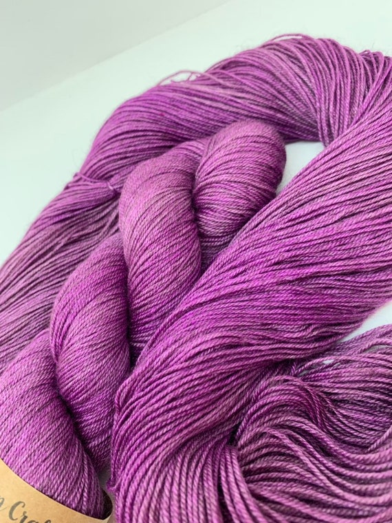 Amethyst - 100g 60/20/20 Superwash Merino / Silk / Yak Sock Yarn 4 ply, fingering, hand dyed in Scotland, purple tonal