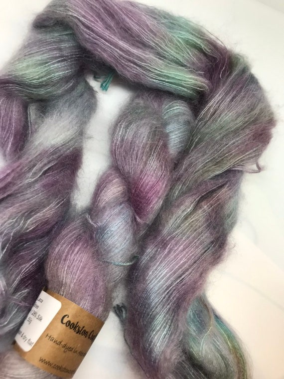 Bree - 50g Kid Mohair / Silk 72/28 % lace weight hand dyed in Scotland, green, pink , teal, mint