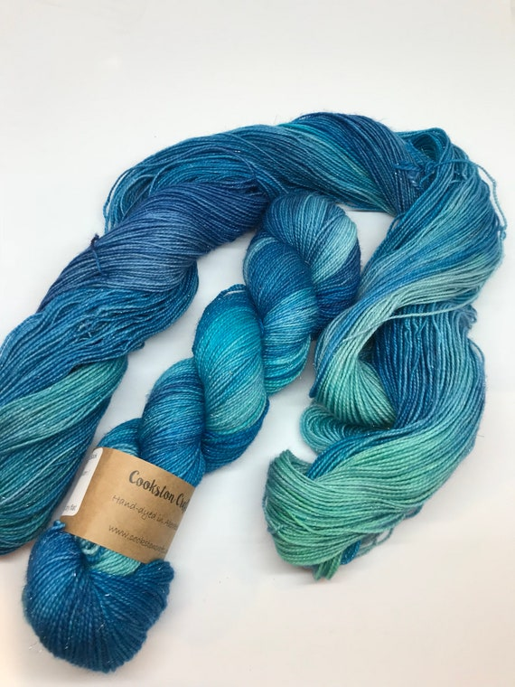 Skye - 100g Superwash Merino / Nylon / Silver Stellina Sparkle Sock Yarn 4 ply, fingering, hand dyed Turquoise, Blue, Green