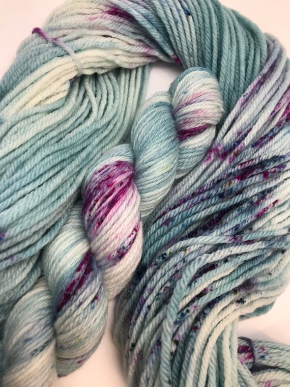 Crathie - 50g 100% Superwash Merino DK double knit yarn, hand dyed in Scotland, variegated mint green, teal, pink speckles