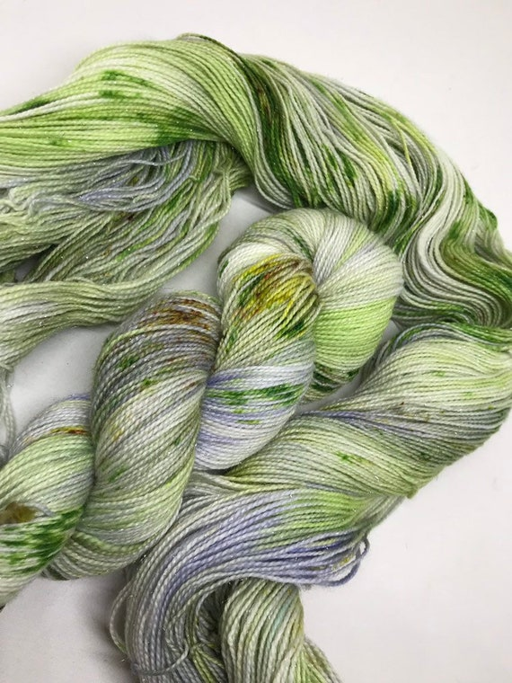 Sea Holly - 100g Superwash Merino / Nylon / Silver Stellina Sparkle Sock Yarn 4 ply, fingering, green, lilac, brown red speckles
