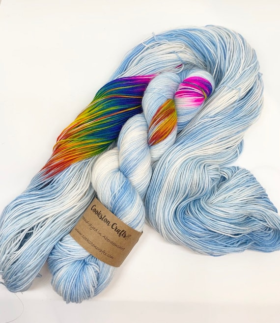 Rainbow Dash - 100g Superwash Merino / Nylon Sock Yarn 4 ply, fingering, hand dyed, pale blue, pooling