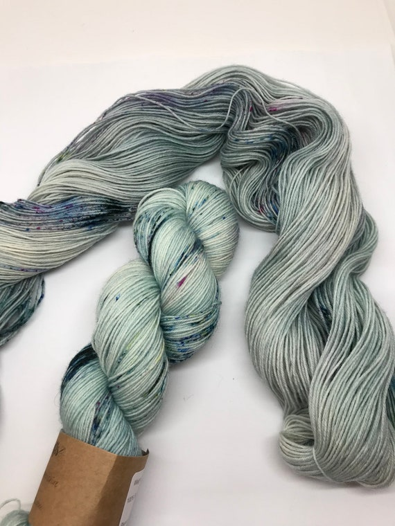 CRATHIE - 100g British Blue Faced Leicester Yarn 4 ply, fingering, sock, hand dyed in Scotland, teal, grey, olive, magenta speckles