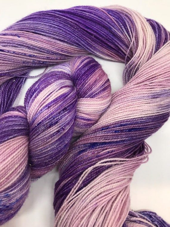 Hydrangea - 100g Superwash Merino / Nylon / Gold Stellina Sparkle Sock Yarn 4 ply, fingering, hand dyed purple pink speckles