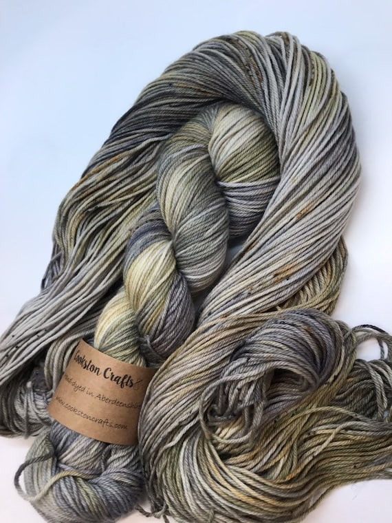 Murtagh - 50g 75/25% Superwash Merino/ Nylon , DK double knit yarn, hand dyed in Scotland, grey brown, khaki, speckles outlander