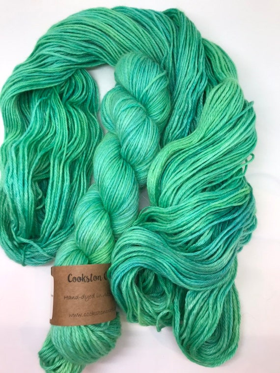 Emerald - 100g 70 baby alpaca / 20 silk / 10 % cashmere, DK double knit yarn, hand dyed in Scotland green jade
